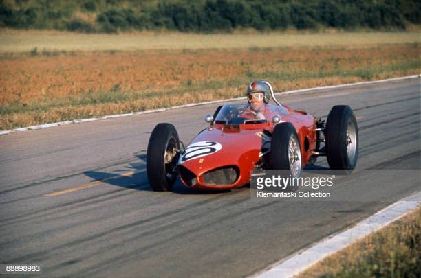 The French Grand Prix Reims July 2 1961 An excellent photo of Wolfgang von Trips braking hard for the entry to Muizon Corner on the back of the old...