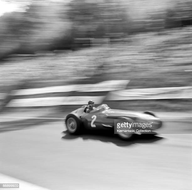 The French Grand Prix Rouenles Essarts July 7 1957 Another great Juan Manuel Fangio action photo here he is descending the high speed hill after the...