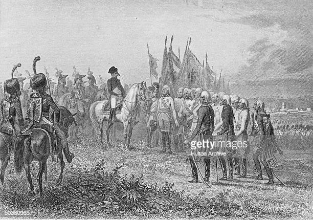 The French Grande Armee commanded by Emperor Napoleon Bonaparte accepts the surrender of the Austrian army commanded by General Karl Mack von...