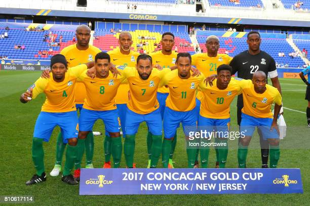 The French Guiana starting eleven prior to the first half of the CONCACAF Gold Cup Group A game between the Canadian National Soccer Team and French...