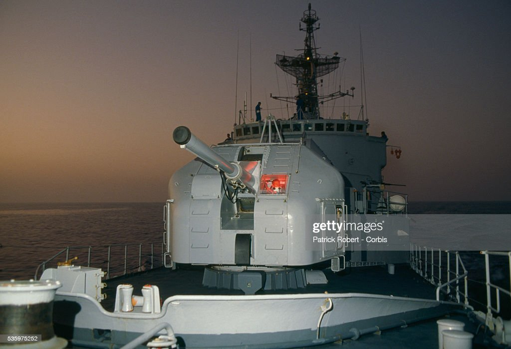 The French gunboat Doudart de Lagree patrols the Persian Gulf during the Iran-Iraq War. French naval ships were used during the war to protect Kuwaiti oil tankers, which became targets as fighting escalated between Iraq and Iran.