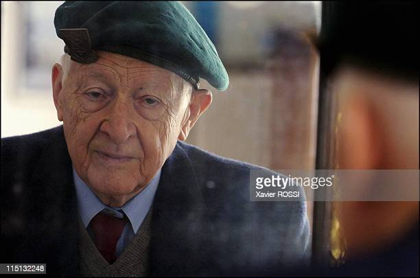 The French heroes of DDay in France in March 2004 Hubert Faure veteran of the French Commando Kieffer