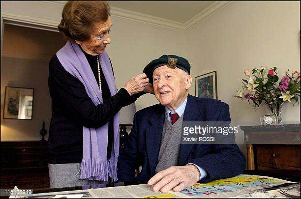The French heroes of DDay in France in March 2004 Hubert Faure veteran of the French Commando Kieffer and wife Marie