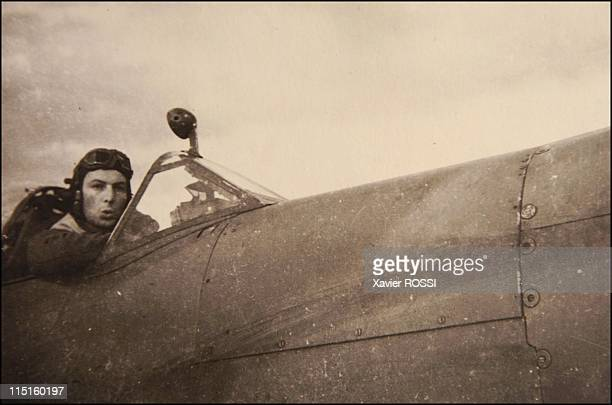 The French heroes of D-Day in United Kingdom in 1943 - Claude Roza, fighter pilot on June 6, 1944. Rosa in his Spitfire IX 1943 Perranporth.