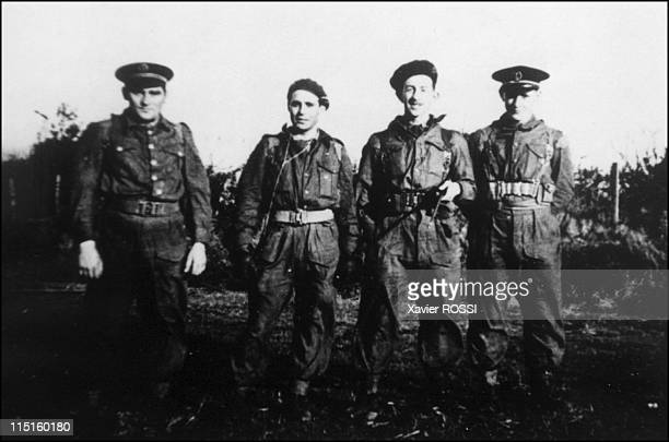 The French heroes of DDay in United Kingdom in 1943 Hubert Faure veteran of the French Commando Kieffer Great Britain at the training camp of...