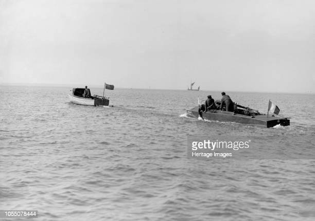 The French hydroplane 'Despujols I' being towed 1913 'Despujols I' competed for the British International Trophy which took place in Osborne Bay...