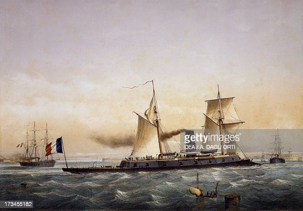 The French Imperial Navy's ironclad SS Rochambeau colour lithograph by Charles Leduc France 19th century Genoa Pegli Civico Museo Navale