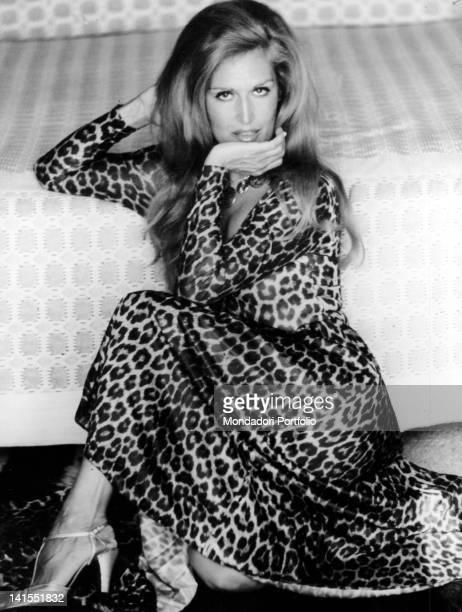 The French Italianborn singer Dalida wearing a leopardskin dress 1970s