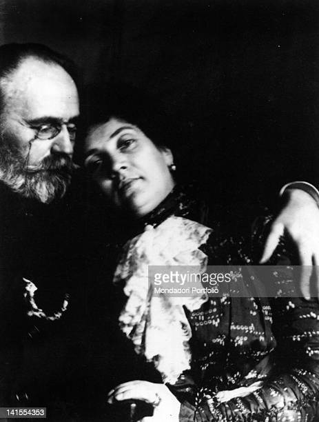 The French journalist essayist and novelist Emile Zola hugging his partner Jeanne Rozerot France 1880s