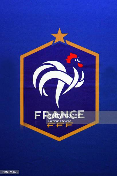 The French Logo of French football team during the head coach Didier Deschamps press conference at the French Football Federation headquarters on...