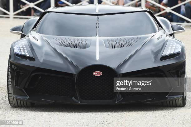 The French luxury brand Bugatti attends La Voiture Noire the most exclusive hyper sports cars during the parade of concept cars at the Chantilly Arts...