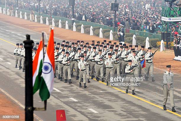 The French marching contingent of the 35th Infrantry Regiment of the French Army march during India's Republic Day parade in New Delhi on January 26...