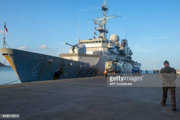 The French marine frigate Germinal is docked at the port of Galisbay on the French Caribbean island of Saint Martin to deliver bottled water on...