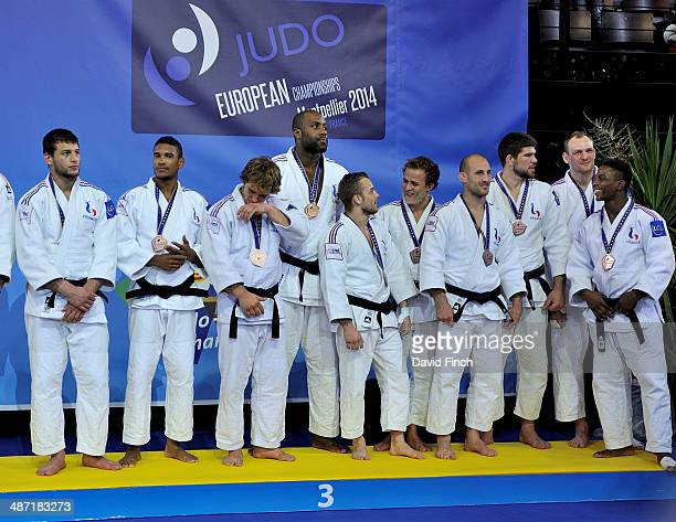 The French men's team here with the reserves wn the brnze medal during the Montpellier European Team Judo Championships at the ParkSuites Arena on...