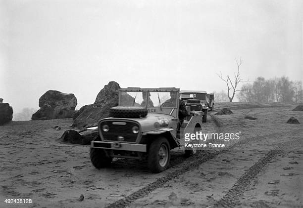 The French military team with Delage vehicles during the rally AlgiersCape Town in December 1950