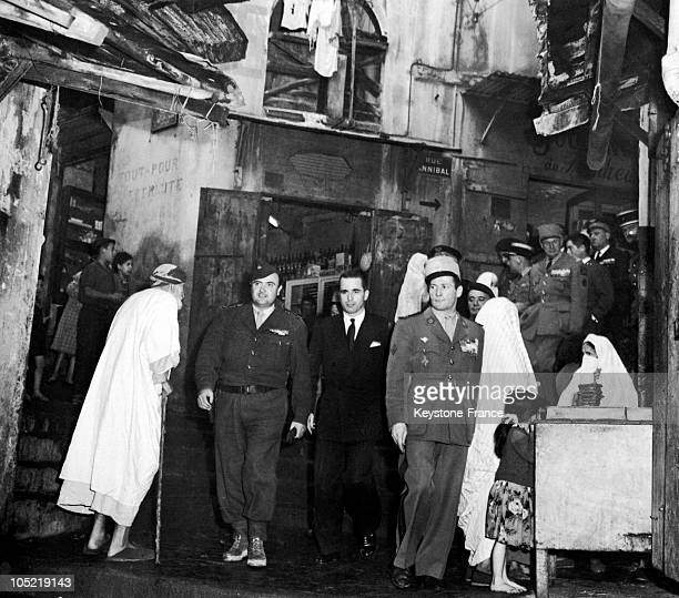 The French Minister Of National Defense Jacques ChabanDelmas Surrounded By Soldiers Visits The Casbah Of Algiers On November 18 After The Bloody...