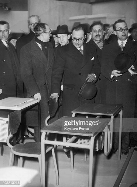 The French Minister Of National Education Jean Zay Examines New Desks Of Students In A Home Fair In Paris January 29 1937