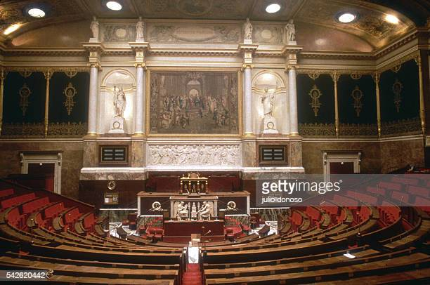 The French National Assembly amphitheater at the Palais Bourbon