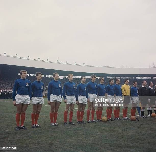 The French national football team line up before their international fixture with Italy at Parc Des Princes stadium in Paris France on 19th March...