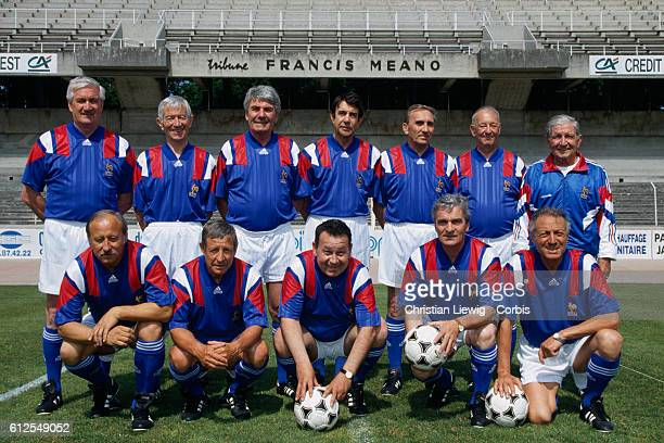 The French national soccer team 34 years after their third place in the 1958 FIFA World Cup in Sweden. Maryan Wisnieski, Raymond Kopa, Just Fontaine,...