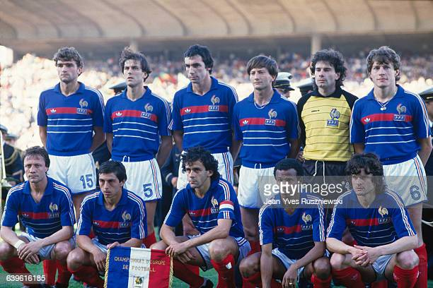 The French National team before the semifinal of the UEFA Euro 1984 against Portugal Bernard Lacombe Alain Giresse Michel Platini Jean Tigana and...