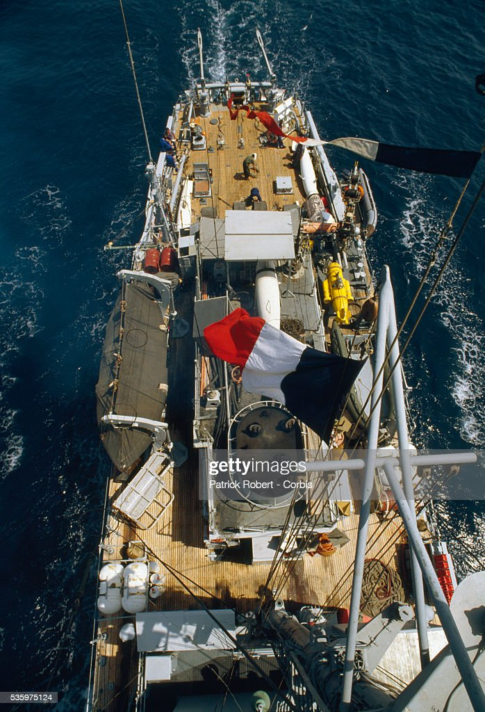 The French naval minesweeper Cantho patrols the Persian Gulf during the Iran-Iraq War. French minesweepers were used during the war to protect Kuwaiti oil tankers, which became targets as fighting escalated between Iraq and Iran.