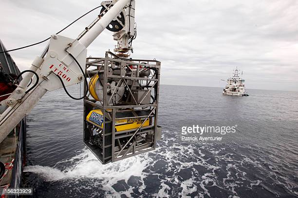 The french navy boat 'Jason' with the deep ROV robots during a dive operation to explore the wreck of the 'Moon' the flagship of Louis XIV that sank...