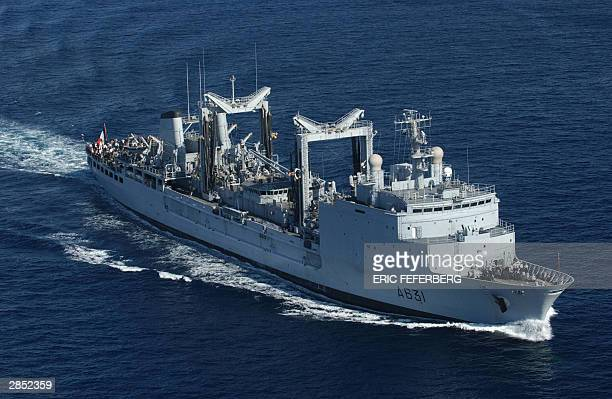 The French navy logistics ship La Somme sails in the Red Sea 08 Januray 2004 The command and refuelling ship the Somme which can replenish vessels...