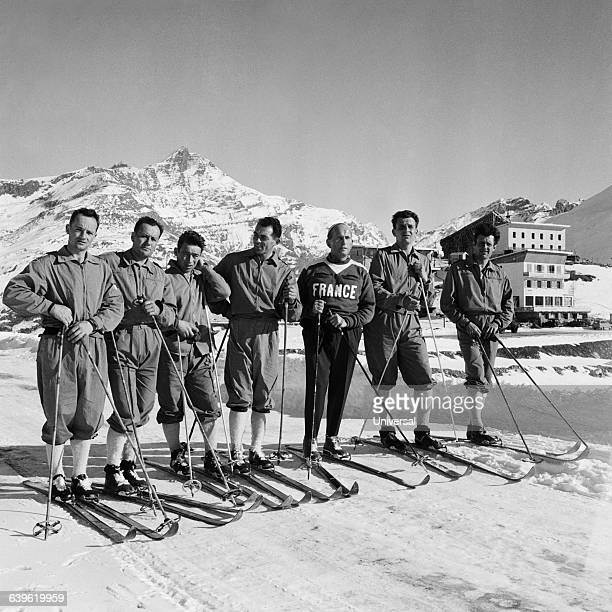 The French Olympic cross-country ski team, Mermet, Gilbert Mercier, Roman, Mandrillon, Camille Jacquemod , Arbez and Francis Mercier.