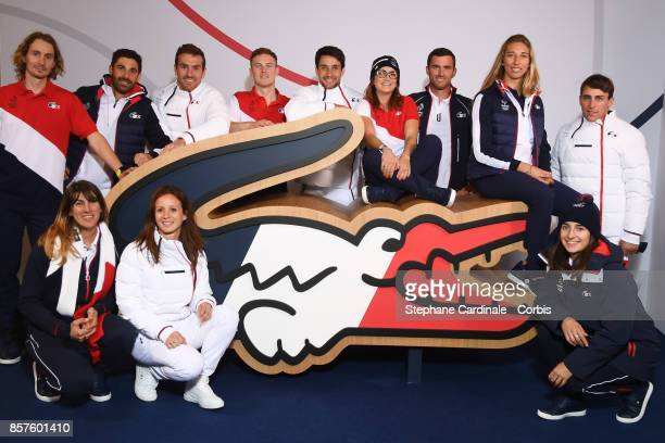 The French Olympic Team pose before the Press 100 Days Prior The Pyeongchang Olympic Games at Salle Pleyel on October 4 2017 in Paris France