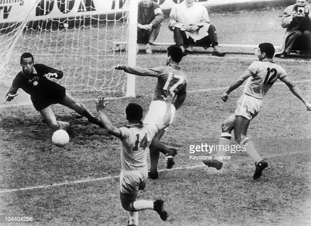 The French player Just FONTAINE scored the first goal against Brazil in front of the Brazilian goal keeper Neves GILMAR on the soccer World Cup...