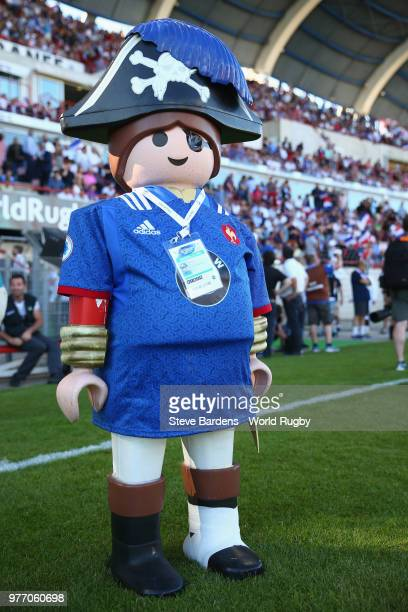 The U20 World Cup trophy prior to the World Rugby Under 20 Championship Final between England and France at the Stade De La Mediterranee on June 17...
