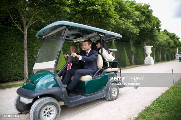 the french president Emmanuel Macron and the russian president Vladimir Putin at the castle of Versailles France on may 29 2017