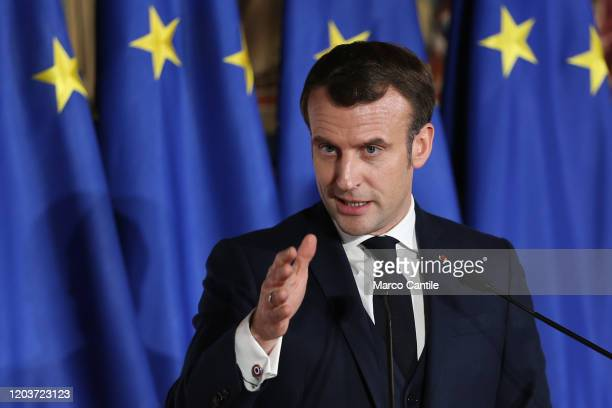 The French President, Emmanuel Macron, during the press conference for the Italian-French summit in Naples.