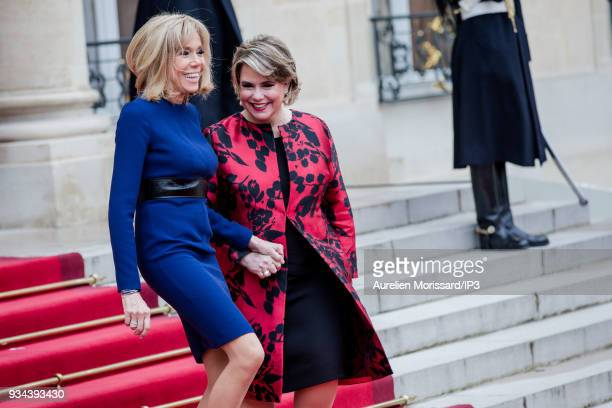 The French President of the Republic's wife Brigitte Macron escort the Grand Duchess of Luxembourg at the Elysee Palace after a meeting on March 19...