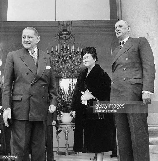 The French president Rene Coty is posing with General Charles de Gaulle and Mrs Yvonne de Gaulle after having a lunch together on December 23 1958 in...
