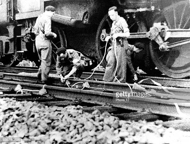 The French Resistance The French Resistance forces destroying the railway track of Romanèche in Saône et Loire August 1944 France Second World War war