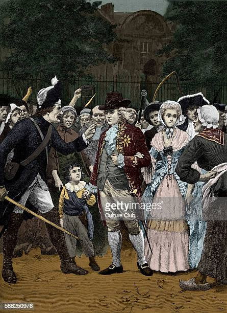 The French Royal Family en route to the Assembly King Louis XVI had agreed to legalise the National Assembly and left Versailles with his family to...