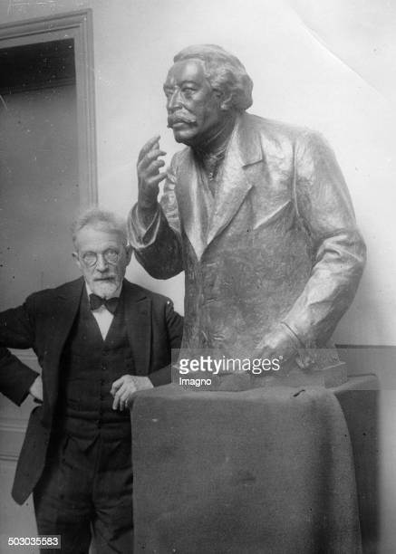 The French sculptor Guillaume with his bust of Aristide Briand About 1933 Photograph