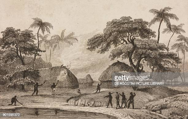 The French setting fire to the houses of the chief Taufa'ahau, Tonga Islands, engraving by Danvin and Lejeune from Oceanie ou Cinquieme partie du...