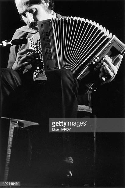 The french singer and accordionist Marc Peronne in concert in Fontenay Sous Bois France in 1995
