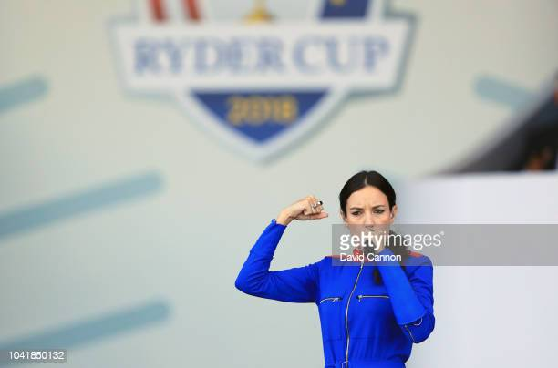 The French singer Jain performs during the opening ceremony for the 2018 Ryder Cup at Le Golf National on September 27 2018 in Paris France