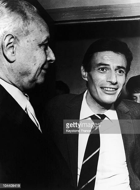 The French singer Jean FERRAT with the French writer Louis ARAGON in Bobino