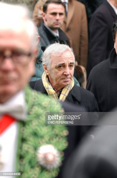 The French singer of Armenian origin Charles Aznavour arrives on January 17 2002 at the Armenian church of Paris to attend the funeral of the...