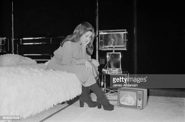 The french singer Sheila in her bedroom keeps an eye on her baby Ludovic Chancel through a screen and a camera placed in the baby's bedroom Paris...
