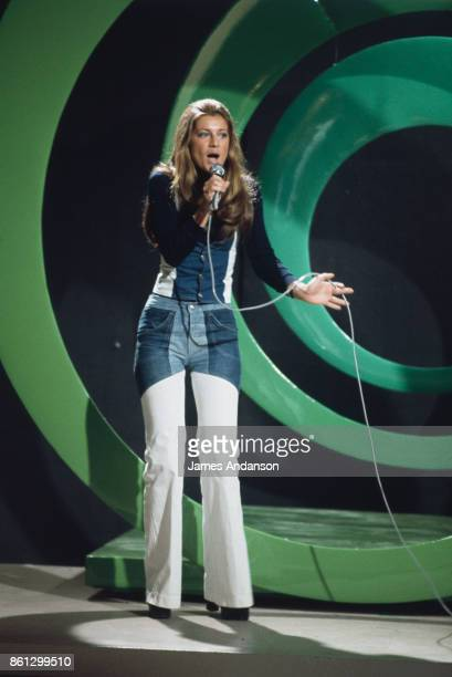 The french singer Sheila signing on tv set Paris 15th September April 1973