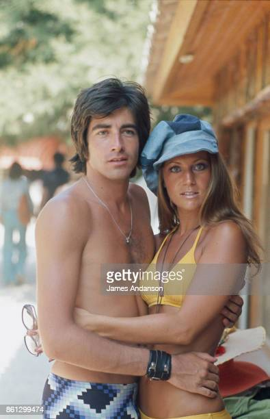 The french singer Sheila whose real name is Annie Chancel with her husband Ringo whose real name is Guy Bayle in SaintTropez 17th August 1973