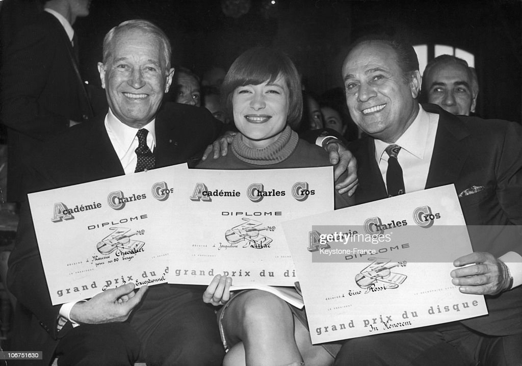 Maurice Chevalier, Jacqueline Dulac And Tino Rossi, Prizewinners Of The Prix Charles Cros In 1968 : News Photo