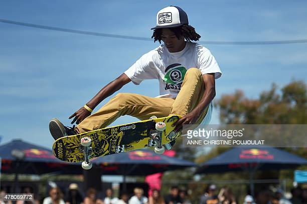 The French skater Max Verohanitra takes part in qualifying rounds of the French stage of the World Cup Skateboarding ISU during the Sosh Freestyle...