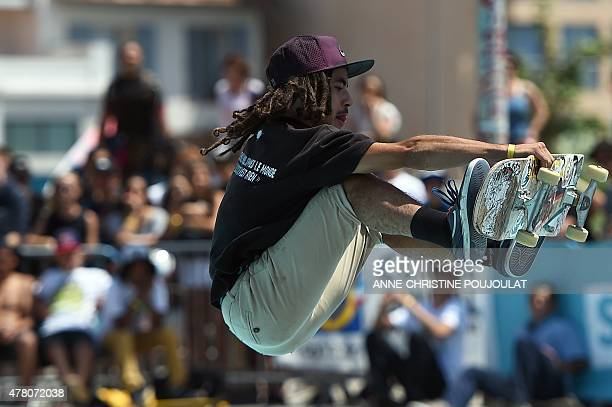 The French skater Remy Wacker takes part in qualifying rounds of the French stage of the World Cup Skateboarding ISU during the Sosh Freestyle Cup...